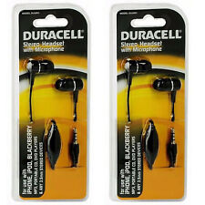 2X Duracell Stereo Headset w/ Mic for iPhone iPod MP3 CD DVD Players (DU3001)