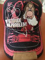 "Disney Parks Authentic ""My Attitude Your Problem"" Grumpy Hat Red baseball cap"