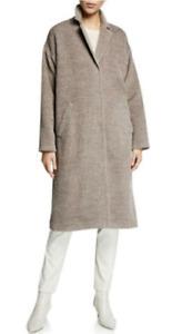 NWT $698 Eileen Fisher Briar Sheared Suri Alpaca Boxy Coat Large