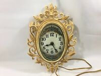 """Vintage Spartus Clock Plastic Wall Clock Electric Kitchen Scroll 12"""""""