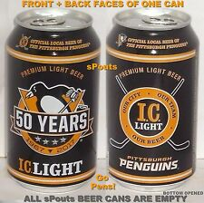 2017 50 YEARS PITTSBURGH PENGUINS ICE HOCKEY NHL BEER CAN PA SPORT IRON MAN CAVE