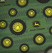 Green John Deere tractor tires tread farm flannel fabric