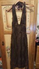 Stunning I.S brown lace halter dress (size large)