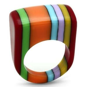 Multi-color Jewelry lucite rezin plastic ring.Size 7. Free USA shipping!