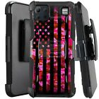 Holster Case For LG K92 5G (2020) Kickstand Phone Cover - PINK CAMO US FLAG