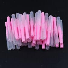 40 Pcs Dental Interdental Brush Tooth Pick Flosser Toothpick w/ Lid Pink 0.7mm