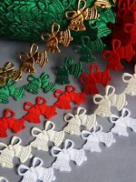 Christmas Decorations Bells lace trim ribbon CRAFTS cards sew on xmas aplique