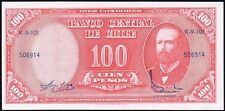 1960-61 Chile 10 Centesimos en 100 pesos billete * 506914 * FMAM * P-127a *