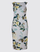 New M&S Per Una Grey Yellow Green Floral Scuba Bodycon Dress Sz UK 16