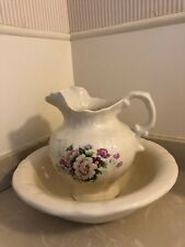 Vintage Lionston Large Off White Wash Basin & Pink Floral Pitcher