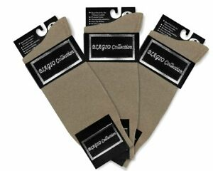 3 Pair of Biagio Solid TAUPE LIGHT BROWN Color Mens COTTON Dress SOCKS