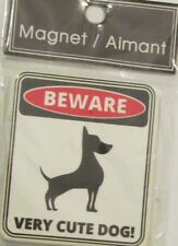New White Square Beware Very Cute Dog! Ceramic Fridge Magnet