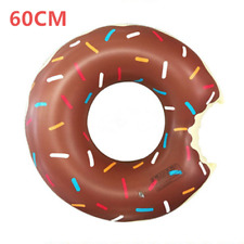 60cm Brown Giant Inflatable Donut Rubber Ring Pool Float Lilo Tube Toy for Kids