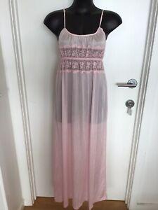 Size 10/12 Beautiful Vintage Pink Lacey Maxi Slip / Nightie