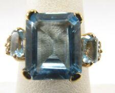 14K Tres Piedra Topacio Azul Talla Anillo 7 Guardar R528