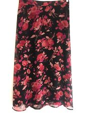 Women's Dressy Floral SKIRT A Line Mid Calf Size 10 AUTUMN Red Orange Rust Black