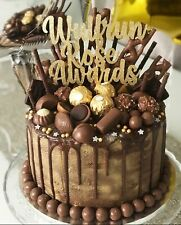 Custom Cake Topper Any Three Words Gold Glitter Any Colour Free UK P&P