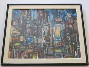 HAL AKINS AMERICAN  PAINTING EXPRESSIONISM CITY URBAN  VINTAGE STREETS ABSTRACT