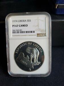 1974 Liberia Five Dollars SILVER 5 Dollar Coin - NGC PF 67 Cameo
