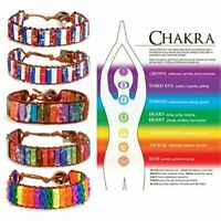 7 Chakra Natural Stone Tube Beads Bracelet Handmade Braided Rope Bangle Jewelry