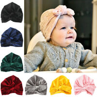 Toddler Infant Baby Soft Velvet Beanie Cap Hat Solid Color Bowknot Turban Hat