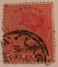 Lagos One Penny Queen Victoria RARE used good 1875 Portuguese Africa Stamp Red