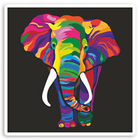 2 x 10cm Rainbow Elephant Vinyl Stickers - African Africa Laptop Sticker #30096