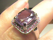 sterling silver 925 Ring 7 Uruguayan Amethyst ruby Real Solitaire cocktail