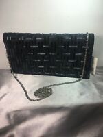 Bloomingdales Black Beaded Flap Fold Clutch Purse w/ Silver Chain Strap Vintage
