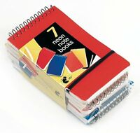 7 MINI Neon NOTE PADS Spiral Bound Elastic Strap A7 Plastic Cover Notebooks