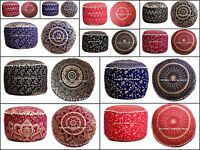Gold Mandala Cotton Foot Stool Ottoman Case Indian Round Floor Pouf Pillow Cover