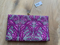 NWT Banana Republic purple/gray floral 100% silk envelope clutch, MSRP $38