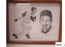 "LUIS GONZALEZ Framed Pencil Drawing 8.5"" x 11"" Frank Nareau 2001 Diamondbacks"