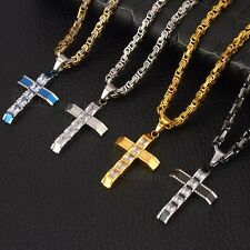 Men Stainless Steel Cross Pendant Black Gold Silver Necklace Byzantine Chain
