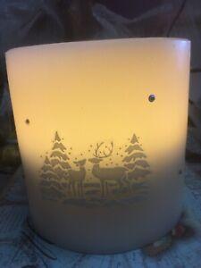 3 Led Wax Candle Deer Village Scene Table Decoration,Nightlight, Christmas Lamp
