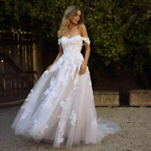 New Boho A Line Wedding Dresses Off the Shoulder Appliques Princess Bridal Gowns