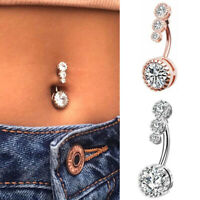 Zircon Navel Belly Button Rings Surgical Steel Piercing 14g*10mm Body Jewelry