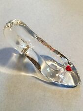 Mini Paperweight Crystal Clear Glass Slipper, Red Heart Stone in Bow Accent