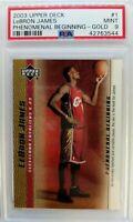 2003-04 Upper Deck Phenomenal Beginning Gold LeBron James Rookie RC #1, PSA 9