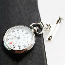 Large Face Nurses Pocket Fob Watch on a Bar with a Brooch Back Silver Color A WN