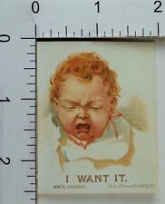 "Victorian Trade Card Murdock Liquid Food Co ""I Want It"" Adorable Baby F68"