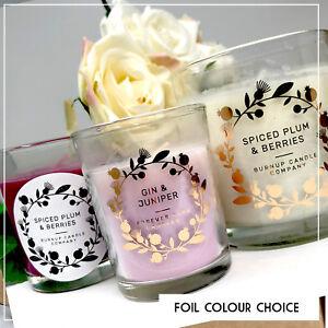 Personalised foil Candle jar Transparent stickers custom label wedding confetti