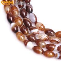 "Natural Olivary Stripe Botswana Agate Rice Gemstone Beads For Jewelry Making 15"""