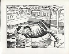 Kliban Spoiled Cat. Life at the Pool. Vintage 1981 print. 9 x 11