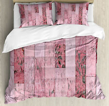 Wood Print Queen Size Duvet Cover Set Pink Toned Rustic Planks with 2 Pillow