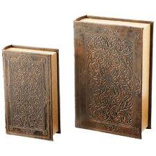 New 2pc Faux Book Safe Set Book Lock Box Gun Safe Key Hidden Secret Money Cover
