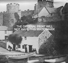 BOATS MOORED AT CONWAY CASTLE ABERCONWAY 1801 NOSTALGIC HARDBACK PRINT ANCESTRY