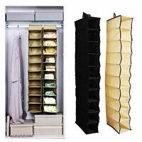 10 Section Closet Wardrobe Shoe Clothes Organizer Hanging Storage Rack Shelf NEW