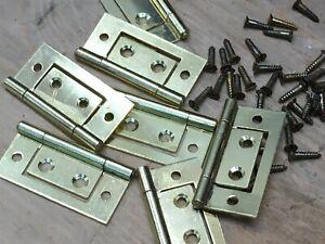 "4 PAIRS 2"" 50mm FLUSH  HURLINGE HINGES  ELECTRO BRASSED DOOR EB with screws"