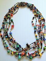 "18"" Czech Glass Bead MULTI-COLOR BRIGHTS Cascade Strand Bead Collar NECKLACE"
